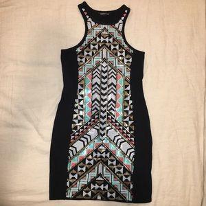 Express bodycon Aztec sequin dress